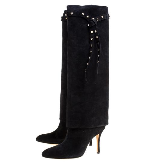 Valentino Suede Leather Rockstud Black Boots Image 3
