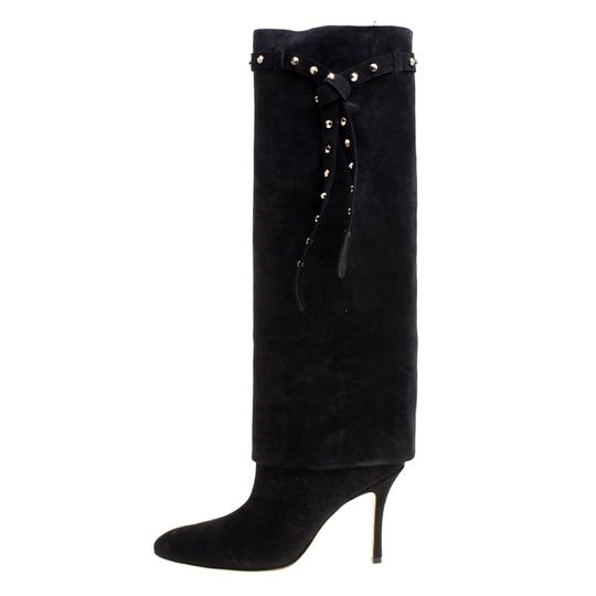 Valentino Suede Leather Rockstud Black Boots Image 5