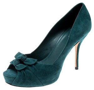 Gucci Suede Leather Peep Toe Green Pumps