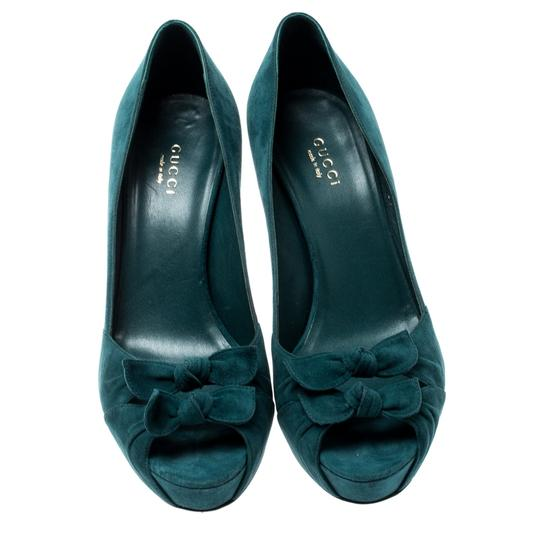 Gucci Suede Leather Peep Toe Green Pumps Image 1