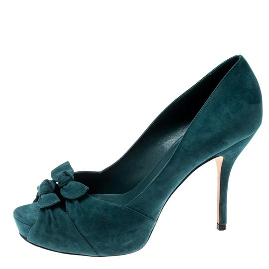 Gucci Suede Leather Peep Toe Green Pumps Image 3