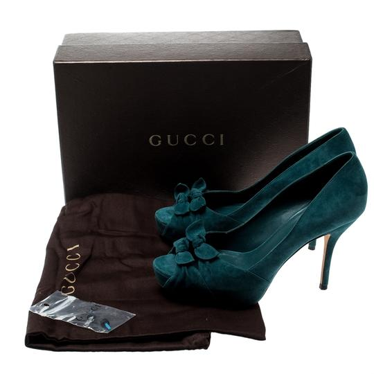 Gucci Suede Leather Peep Toe Green Pumps Image 7