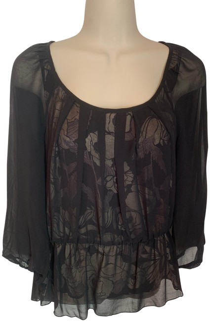 Item - Black Grey Tan With Sheer Overlay and Floral Tank Blouse Size 8 (M)
