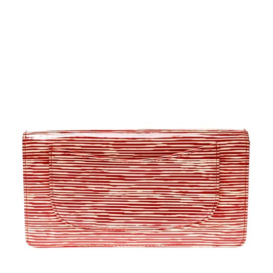 Chanel Chanel Orange Striped Patent Leather CC Wallet Image 1