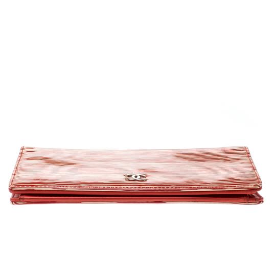 Chanel Chanel Orange Striped Patent Leather CC Wallet Image 2