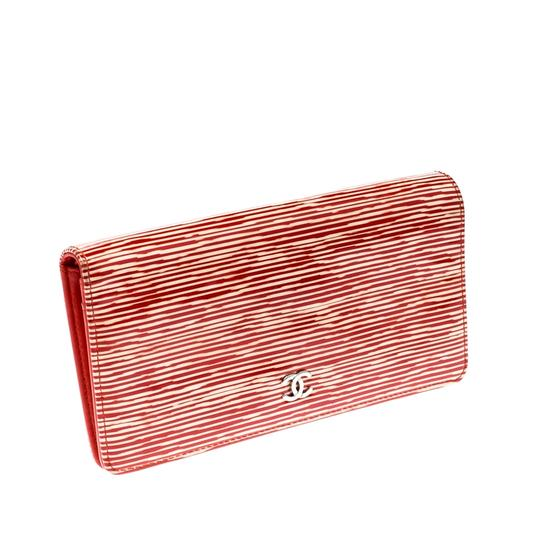 Chanel Chanel Orange Striped Patent Leather CC Wallet Image 7