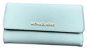 Michael Kors Michael Kors Jet Set Travel Large Trifold Wallet Pale Jade Turquoise