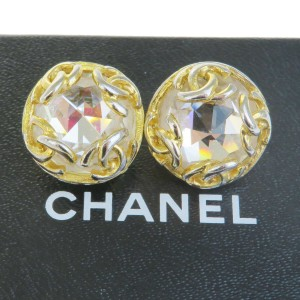Chanel Gold Cc Rhinestone Gold-tone Clip-on 95a Earrings