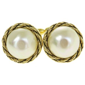 Chanel Gold Imitation Pearl Cuffs Button Gold-tone Earrings