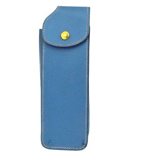Hermès Authentic HERMES Logos Cell Phone Case Leather Blue Made In France