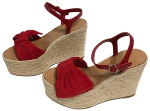 Valentino Bow Espadrille Suede Leather red Wedges