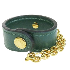 Hermès Authentic HERMES Glove Holder Key Chain Charm Leather GreenGold France