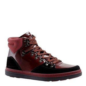 Gucci Dark Red Contrast Patent Leather / Suede High Top Sneaker 368496 1078 Shoes