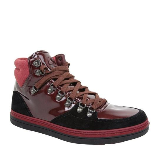 Gucci Dark Red Contrast Patent Leather / Suede High Top Sneaker 368496 1078 Shoes Image 1