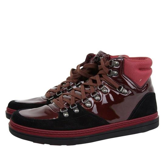 Gucci Dark Red Contrast Patent Leather / Suede High Top Sneaker 368496 1078 Shoes Image 2