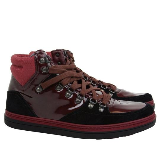 Gucci Dark Red Contrast Patent Leather / Suede High Top Sneaker 368496 1078 Shoes Image 3