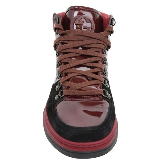 Gucci Dark Red Contrast Patent Leather / Suede High Top Sneaker 368496 1078 Shoes Image 5