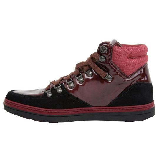 Gucci Dark Red Contrast Patent Leather / Suede High Top Sneaker 368496 1078 Shoes Image 6