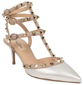 Valentino Metallic Studded Caged Ankle Strap Pointed Toe Silver Pumps