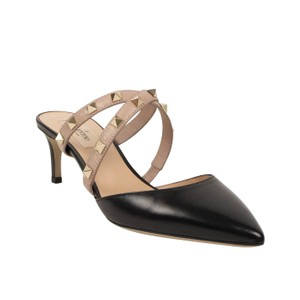 Valentino Studded Mule Pointed Toe Leather Black Pumps