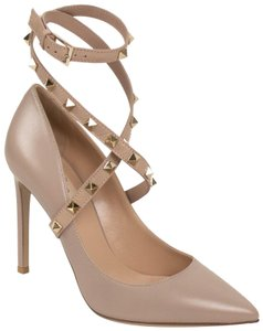 Valentino Studded Pointed Toe Leather Ankle Strap Pink Pumps