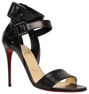 Christian Louboutin Sandal Leather Open Toe Ankle Strap Black Pumps