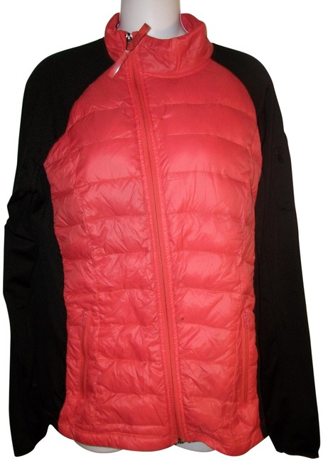 Item - Black and Red Feather Down 2-tone Zip Front Quilted Jacket Size 12 (L)