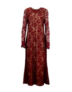 Reem Acra Rhinestone Lace Longsleeve Gown Dress