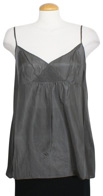 Item - Bark Gray L Silk Habutai V-neck Sleeveless Tank Top/Cami Size 14 (L)