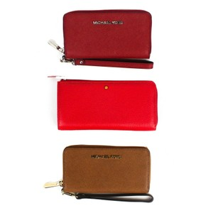 Michael Kors 2 Michael Kors 1 Markiaro - Red Red Tan Leather Wristlet