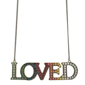 Gucci Gucci Loved Aged Metal Necklace with Mulitcolor Crystals ‎472207