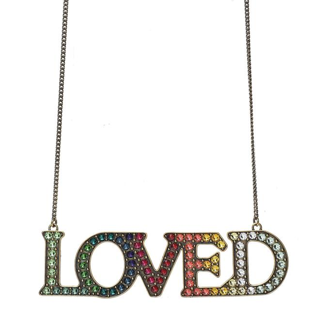 """Item - Multicolor """"Loved"""" Silver Metal with Crystals 472207 Necklace"""