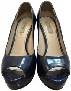Prada Patent Leather Italian Platform Blue Pumps