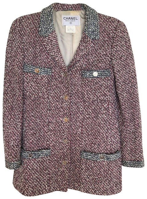 Item - Pink & Blue Boucle Tweed Blazer Size 6 (S)