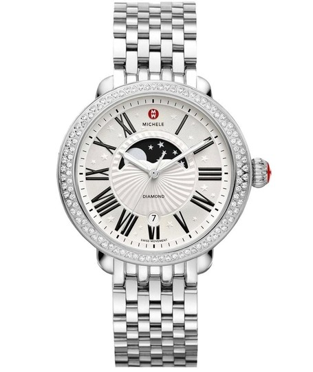 Michele Serein 16 Stainless Steel Moon Phase Stars Diamond Dial MWW21D000002 Image 4