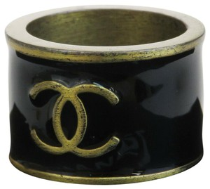 Chanel Auth CHANEL CC Logos Ring Gold-tone Black France Accessories