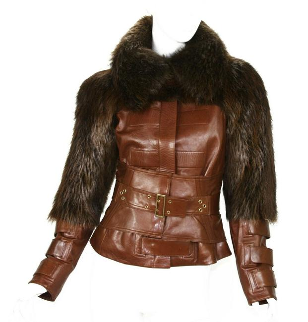 Gucci Brown W Tom Ford For F/W 2003 Collection Cognac Color Fur Corset Jacket Size 6 (S) Gucci Brown W Tom Ford For F/W 2003 Collection Cognac Color Fur Corset Jacket Size 6 (S) Image 1