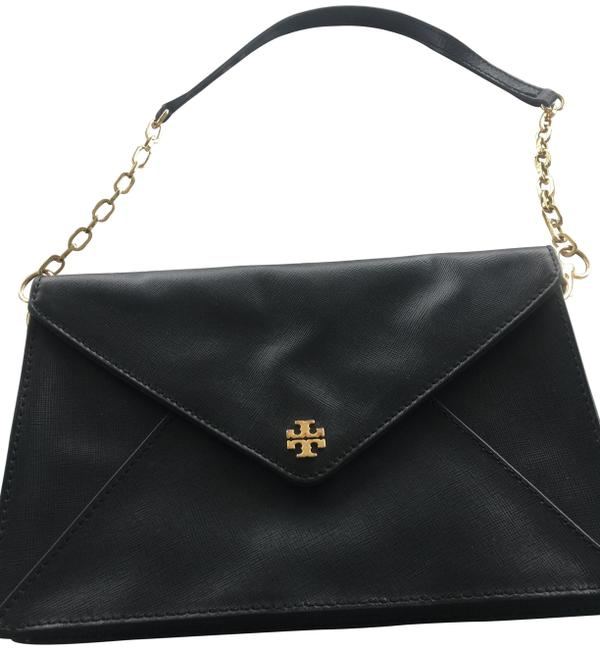 Item - Robinson Envelope with Shoulder Black Gold Trim and Chain Leather Clutch