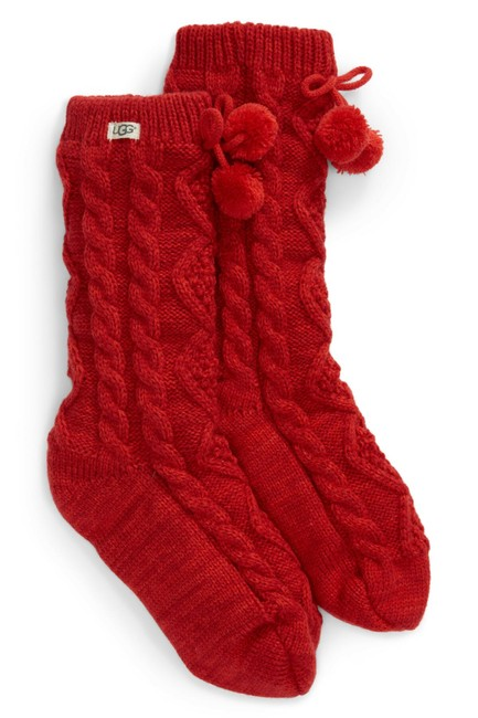 Item - Red Fleece Lined Pom Socks Size 7-12