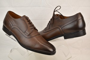 Bally Brown Lauron Tan Textured Leather Lace Up Oxfords 10.5 Us 43.5 Italy Shoes