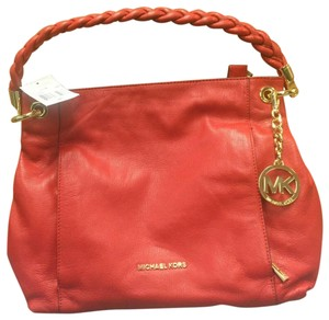 Michael Kors Naomi Braided Leather Satchel in Red