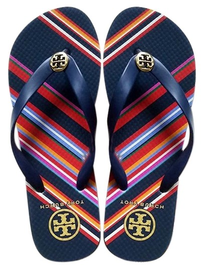 Tory Burch Navy/Vivid Stripe Sandals Image 0