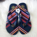 Tory Burch Navy/Vivid Stripe Sandals Image 1