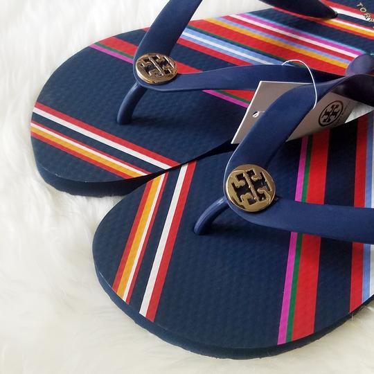 Tory Burch Navy/Vivid Stripe Sandals Image 3