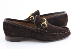 Gucci Brown Horsebit Suede Loafers Shoes