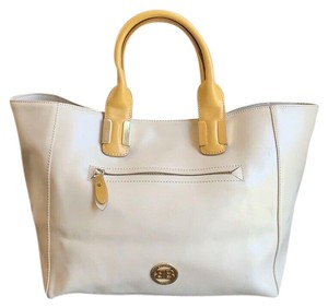 Baldinini Leather Studded Made In Italy Satchel in Natural, Yellow