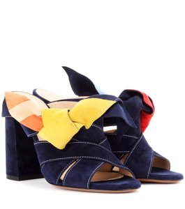 Chloé Sandal Suede Color-blocking Navy Mules
