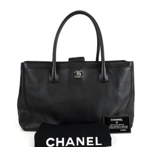 Chanel Caviar Top Handles Silver Cc Turn Lock Tote in Black