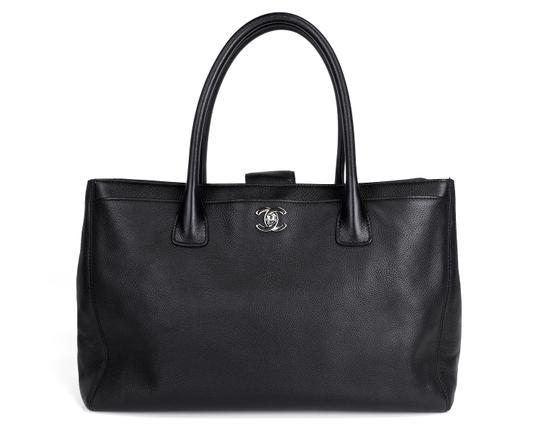 Chanel Caviar Top Handles Silver Cc Turn Lock Tote in Black Image 1