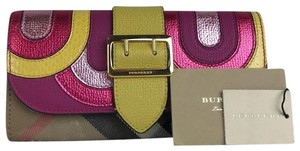 Burberry Burberry Multi-Color Leather Nova Check Canvas Buckle Envelope Wallet - item med img